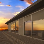 Exterior shades reflecting a beautiful sunset.