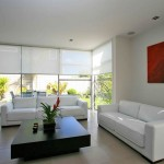 Interior shades in a modern white setting.