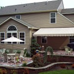 Retractable awning providing shade area in beautiful patio area.