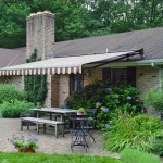 Retractable awning and a beautiful back yard brick patio.